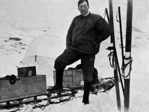 Ernest Shackleton preparing for a trip